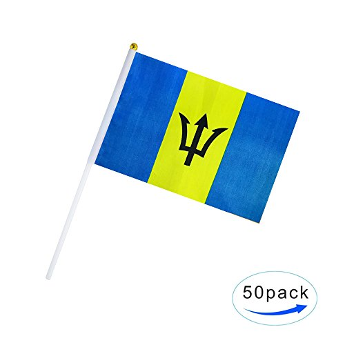 - Kind Girl Hand Held Barbados Flag Barbadians Flag Stick Flag Small Mini Flag 50 Pack Round Top National Country Flags,Party Decorations Supplies for Parades,World Cup,Sports Events,Celebration
