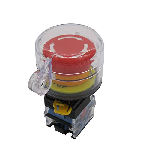 TWTADE / 22mm 1 NC 1 NO Red Mushroom Latching Action Emergency Stop Push Button Switch 10A 440V Add Protection Cover (Quality Assurance for 3 Years) LA38A-11ZS-Z