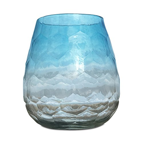 Whole House Worlds The Hamptons Lush Aqua Marine Ombre Hurricane Wind-light, Artisinal Faceted Glass, Hand Blown and Molded, 5 1/4 Inches Tall, By WHW