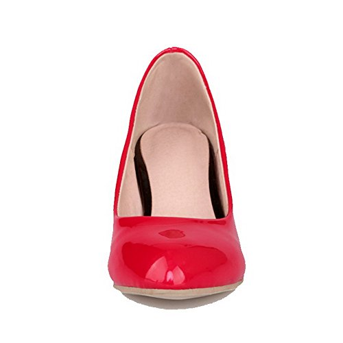AmoonyFashion Womens Kitten Heels Solid Pull on Round Closed Toe Pumps-Shoes Red TQvFBq