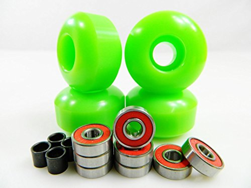 Set of 4 Skateboard Wheels Blank 52mm Green + Abec 7 Bearings and Spacers
