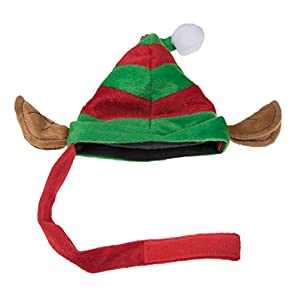 "Puppy Dog Christmas Elf Hat | Perfect for Many Breeds and Sizes | Red and Green Striped Santa's Helper Pet Hat with White Pom Pom and Elf Ears | Measures 9"" x 9"""