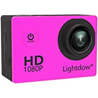 Lightdow LD4000 1080P HD Sports Action Camera Bundle with DSP:NT96650 Chip, 1.5-Inch LPS-TFT LCD, 170° Wide Angle Lens and Bonus Battery (Pink)