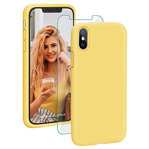(ProBien Case for iPhone X/XS, Liquid Silicone Full Protective Cover with Free Tempered Screen Protector Shockproof Durable Shell Compatible for iPhone X/iPhone Xs 5.8 Inch 2018 Released-Light Yellow )
