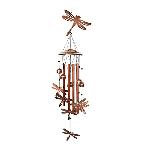 BLESSEDLAND Dragonfly Wind Chimes-4 Hollow Aluminum Tubes -Wind Bells and Dragonflies-Wind Chime with S Hook for Indoor and Outdoor