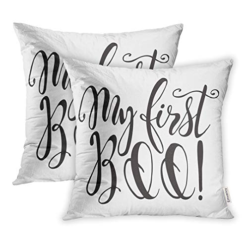Emvency Set of 2 18x18 Inch Throw Pillow Covers Cases Badge Halloween Label Kid and Quote My First Boo Inspirational Lettering Holiday Black Case Cover Cushion Two Sided for $<!--$16.90-->