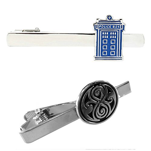 Outlander TARDIS & Seal of Rassilon - TV Series - Tiebar Tie Clasp Set of 2 Wedding Superhero Logo w/Gift Box by Outlander