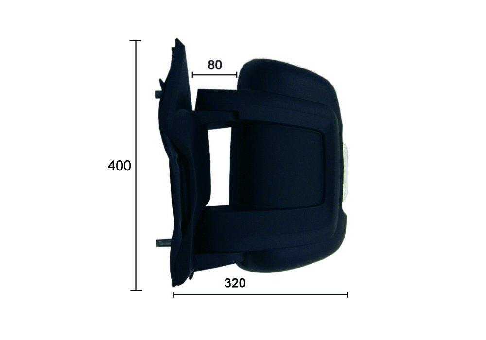Alkar 9201922 Retroviseur complet avec clignotant angle mort 80x320x400 convex manuel bras court