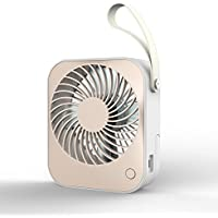 Jusdon 5 Inch Portable Charging USB Mini table fan personal desk fan with leather handle and can match with Li-Battery for home office indoors or outdoors travel, Two Speeds for Option.