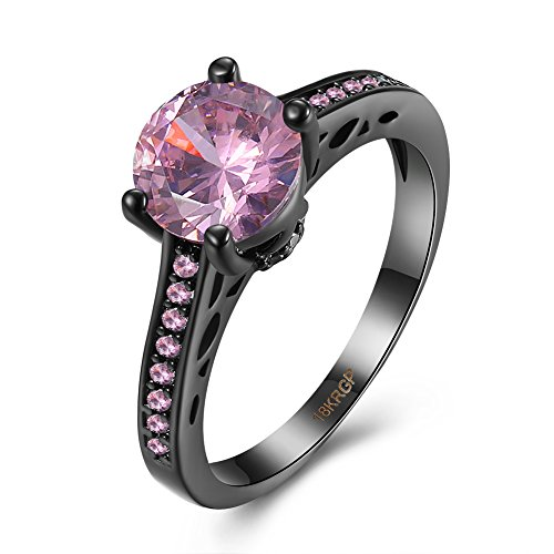 [Eternity Love Wedding Bands Women's 18K Black Gold Plated Rings Round Brilliant Cut CZ Crystal Engagement Rings Best Promise Rings Anniversary Wedding Rings for Lady Girl, Pink ,] (Homemade Wolf Costumes For Kids)