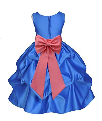 ekidsbridal Royal Blue Satin Bubble Pick-Up Flower Girl Dresses Graduation Dresses 208T 8