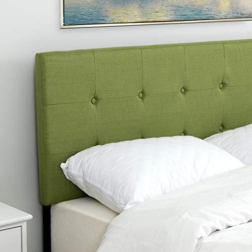 LAGRIMA Tufted Upholstered Linen Twin Size Headboard in Green Fabric Adjustable Height - Green Twin Headboard
