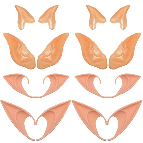 WILLBOND 8 Pairs Elf Ears Goblin Ears Latex Fairy Ears Soft Pointed Ears for Cosplay Halloween Party Costume Supplies -
