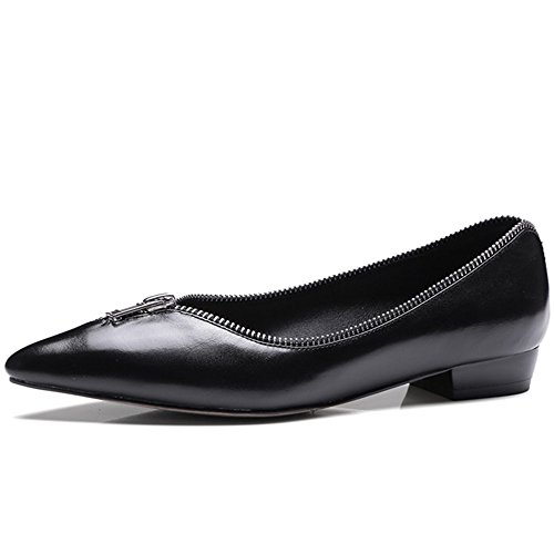 Nine Seven Genuine Leather Womens Pointy Toe Zippers Handmade Plain Flats Shoes New Black-cow Leather oatjViod5j