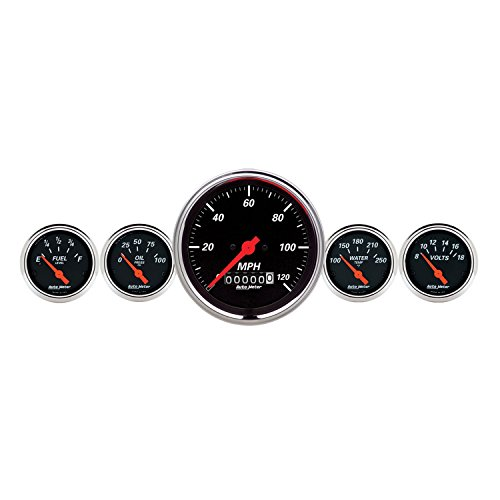Auto Meter 1440 Designer Black Fuel/Oil/Speedo/Volt/Water 5 Gauge Set (Chrysler Oil Pressure Switch Socket)