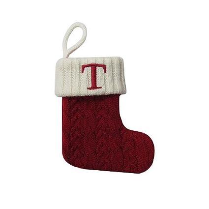 Letter Christmas Stockings.Amazon Com St Nicholas Square Mini Christmas Stocking Letter T