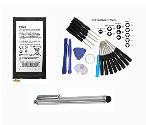 (Generic World Star Replacement Battery EB20 1750mAh 3.8V for Motorola Droid Razr & Motorola Atrix HD with Big Stylus, 16in1 Tools and 2 Year Limited Warranty)