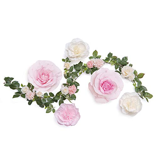 Ling's moment Handcrafted Large Crepe Paper Flowers(5pcs) & 9 Heads Artificial Cream Rose Greenery Garland, Flower Table Runner for Wedding Arch Backdrop Party Centerpiece Photo Booth(Cream,Pink)]()