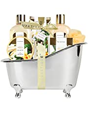 Spa Luxetique Spa Gift Basket Vanilla Fragrance, Luxurious 8pc Gift Baskets for Women, Cute Bath Tub Holder - Best Holiday Gift Set for Women Includes Shower Gel, Bubble Bath, Body Butter & More. Birthday & Anniversary Gift Idea.