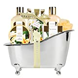 Spa Luxetique Bath Spa Gift Basket Vanilla Fragrance, Luxury 8pc Gift Baskets for Women, Home Bath Gift Set with Body Lotion, Bath Bombs, Bath Puff, Best Gift Sets for Women or Her.
