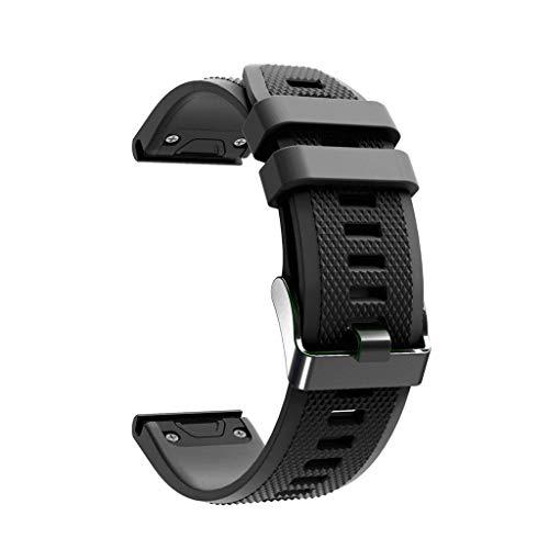Compatible with Fenix 5X Band, Tuscom Easy Fit 26mm Width Soft Silicone Watch Bands Breathable Repalcement Strap Wristband for Garmin Fenix 5X/Fenix 5X Plus/Fenix 3/Fenix 3 HR Smartwatch (Black)