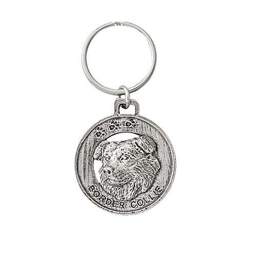 Border Collie Dog Pewter Key Chain, Key Fob, Key Ring, Gift, D030KC ()