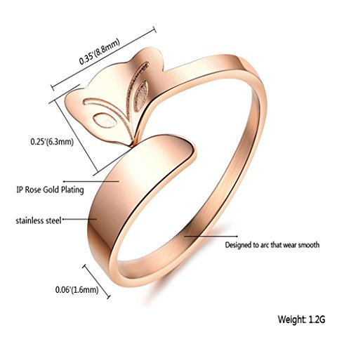 MoAndy Jewelry Rose-Gold-Plated Women's Fashion Figure Ring Band Fox Head Style Rose Golden US Size 5