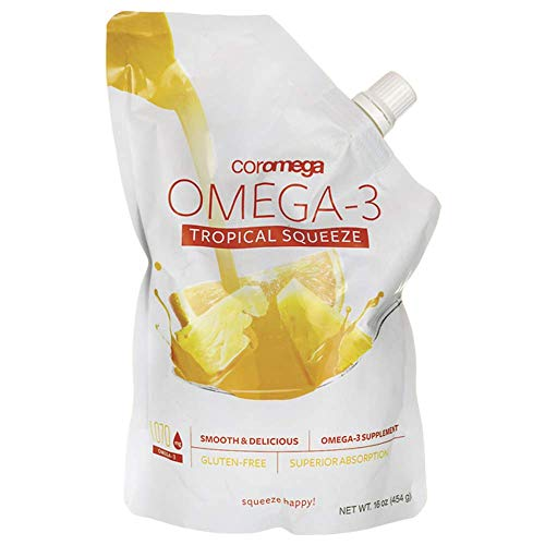 Coromega Omega 3 Fish Oil Supplement with Vitamin D3, 1050mg of Omega-3s with 3X Better Absorption Than Softgels, Tropical Orange Flavor, 16 Ounce Resealable Squeeze Bag, 45 Servings