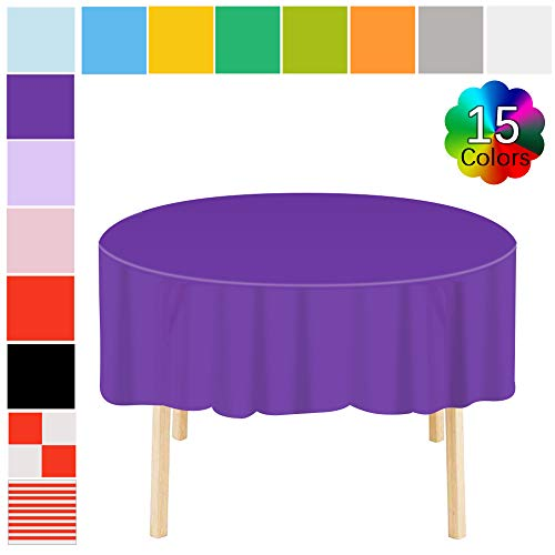 Disposable Tablecloth 6 Pack Premium Plastic Round Table Covers Heavy Duty Table Skirts 83 in. x 83 in. for Indoor or Outdoor Parties Birthdays Weddings Christmas Dark Purple Dia Round Banquet Table