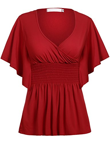Smocked V-neck Dress - ELESOL Women's Batwing Sleeve Slim Fit V-neck Short Smocked Empire Waist Tunic Top Red XXXL