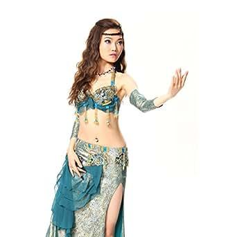 GUILTY BEAUTY Professional Belly Dance Costume Set Bra Skirt Armbands