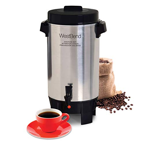 West Bend Highly Polished Aluminum Commercial Coffee Urn Features Automatic Temperature Control Large Capacity with…