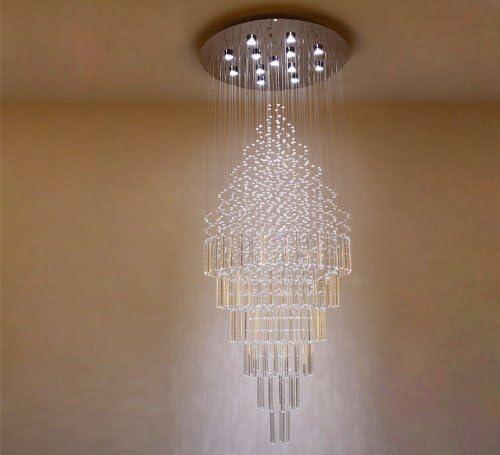 SILJOY Modern Round Crystal Chandelier Rain Drop Design LED Flush Mount Ceiling Light Fixture Lighting