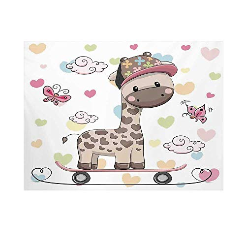 - Kids Photography Background,Cute Cool Giraffe Wearing Cap on a Skate Board with Butterflies Fun Colorful Hearts Print Decorative Backdrop for Studio,10x6ft