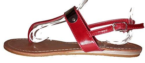 Chanclas para mujer, flip flop, sandalias para mujer, beige, marrón, blanco, azul, rojo, negro-oro, rosa-rojo y color del leopardo, modello 11064105006001, diferentes modelos y tamaños. Rojo.