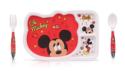 - Finex Set of 3 Red Mickey Mouse Mealtime Kids Dinner Meal Dishes Feeding set for toddlers preschoolers - Set with plate spoon fork Food Grade top rack dishwasher safe