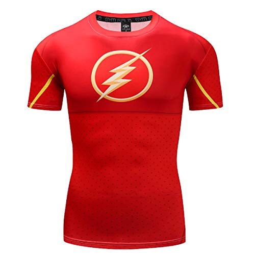 Men The Flash T-Shirt Casual and Sports Short Sleeve Compression Shirt (Large, Red) (The Flash Sports Shirt)