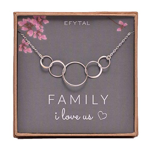 EFYTAL Sterling Silver Family Necklace for Mom of 3 Children I Love Us Card 5 Kids Mothers Day Jewelry Wife ()
