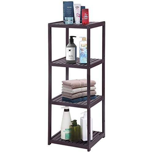 Oksale Bamboo Bathroom Shelf Bathroom Organizer Rack Wood Bathroom Corner Shelf, 4-Tier Narrow Shelving Unit Bathroom Towel Shelf Storage Stand, 38.6×13.8×13inch, USA Stock (Brown)