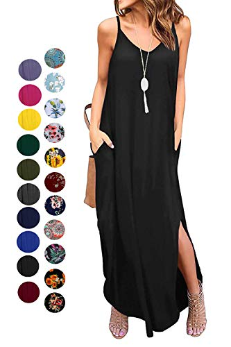 Kyerivs Women's Summer Casual Loose Dress Beach Cover Up Long Cami Maxi Dresses (Black, XXL(22W))
