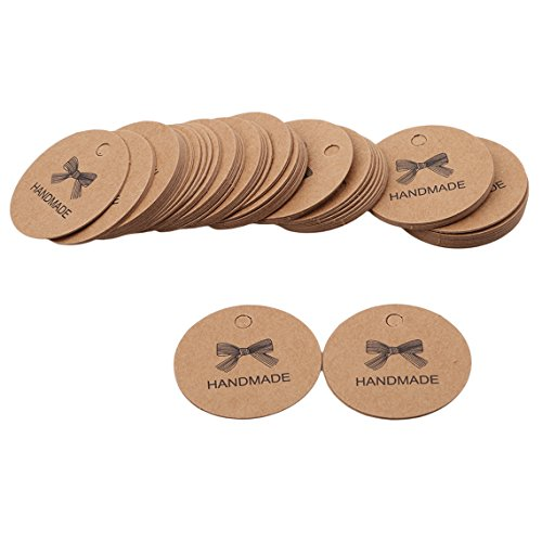 Rurah Bowknot Printed Round Kraft Paper Labels Handmade with love Gift Tags Decorative Labels,Leather color (Leather Tags Round Bag)