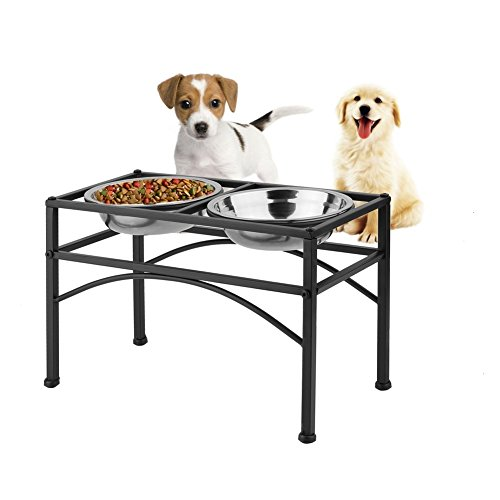 "Dazone Elevated Dog & Cat Feeder - Double Bowl Raised Stand + Extra Two Stainless Steel Bowls, Washable - Perfect for Water, Food or Treats (M:1 quart &10.62""H) (Best Elevated Dog Bowls)"