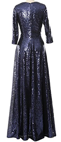 Green Sequin Sleeve Evening of Mother the MACloth Gown Elegant Dress 3 4 Vintage Bride wqtZRIO