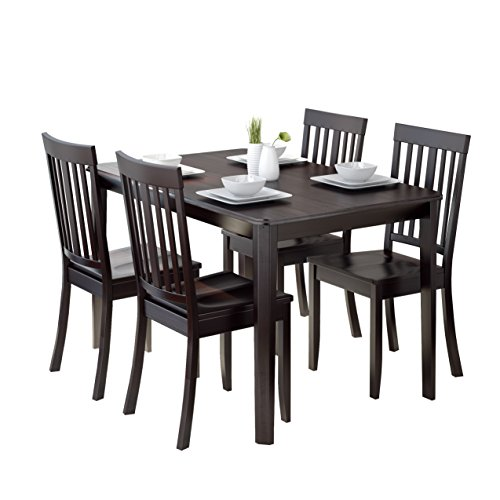 CorLiving 5 Piece DRG-695-Z5 Atwood Dining Set with Stained Chairs, Cappuccino