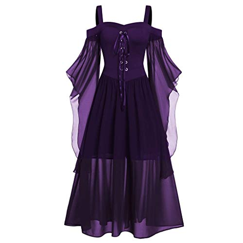 Halloween City Costumes Coupons (aihihe Gothic Dresses for Women Halloween Costumes Plus Size Lace Up Dress Cocktail Party Lolita Dress Cosplay Dark)