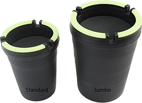 - Home Style 2 Pack Jumbo Ashtray - STUB Out Glow in The Dark Cup - SELF EXTINGUISHING Cigarette Ashtray - Butt Bucket - Portable Ashtray - Black