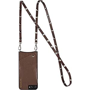 Bandolier Sarah Brown Crossbody Leather Wallet Case For Larger iPhone 8+ / 7+ / 6+