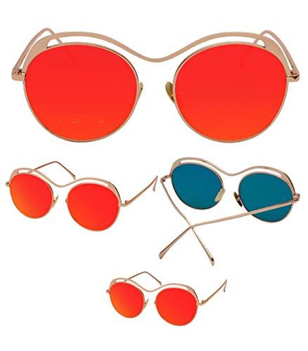 Transparentes Redondas de Gafas Color 1 Color 6 de Gafas X135 Retro sol Gafas sol de zYqqT4