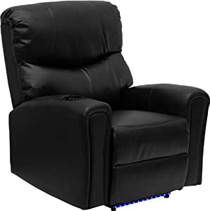 Flash Furniture Fully Powered, Automatic Massaging Black Leather Recliner with Refrigerated Cup Holder and Lighted Base