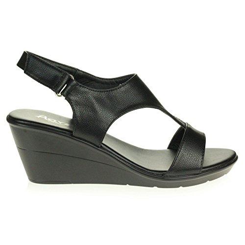 Slingback Cuña Zapatos Talón Mujer Señoras Ligero Tamaño Negro Casual Verano Punta Sandalias Comodidad Abierta q0rzP8q